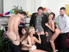 Group of girls and guys get naked at a party and then have group sex