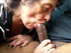 Fuck tool - crazed granny giving oral sex to her amore