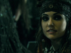 Two hot pirate ladies perform kinky things to a man in the bed
