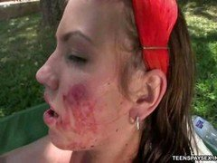Nasty bitch gets outdoor brutal sex & extreme face cumshot