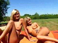 Lovely Russian blondes enjoy taking clothes off during piquant picnic banging