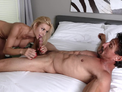 Blonde cougar with big boobs has sex with whiskered friend