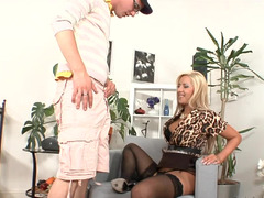 A cock crazed bitch is getting a dick in her pussy and mouth