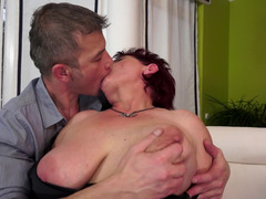 A fine granny that has short hair is getting her wet pussy caressed