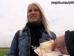 Pretty rookie blonde Czech gal picked up and plus pink slit stuffed with stranger in toilet for money