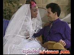 African bride fucked hard in the butt by her husband until he cums wherever on her muff