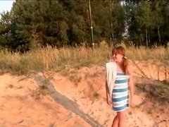 italian gal shows pink on the hot sand
