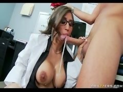 Bigtitted Brunette Doctor gives head  swallows patient's fuck pole for...
