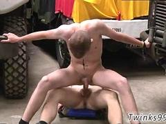 Army twinks butt fucking in a garage and cumming all over each other