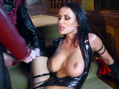 A raven haired broad in latex is getting a dick inside her beefy cunt