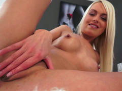 A dildo is going inside this hot blonde with a form body