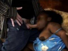 Horny perv makes filthy ebony midget suck his cock
