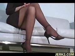 Office floozy Faith Leon in stockings