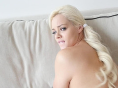 Marvelous blonde darling blows off her step brother's precious penis
