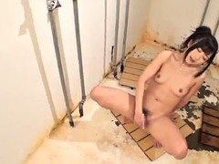 asian babe plays with her bush in solo scene