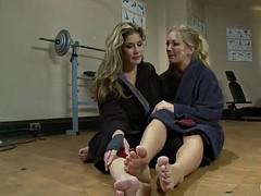 two blonde chicks practice bdsm lesbian sex