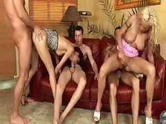 Foursome goes in for each and all the action with hot pussies and besides phalluses