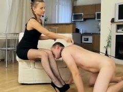 Hot Russian Femdom goddess Dominates and Pegs Sissy Guy