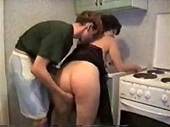Son Loves To Get down and dirty His Mom In The Kitchen