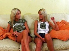 Excited twins waiting for a cock