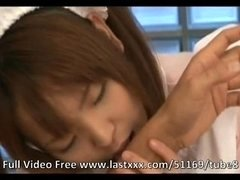 Pigtailed Japanese maid creampied