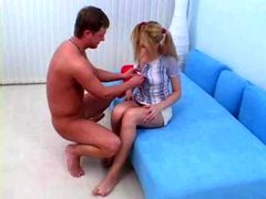 legal teen In Pigtails Gets Rectal Cream