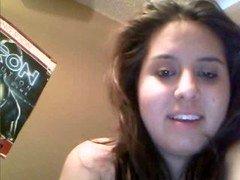 Chunky latina bushy twat masturbating on webcam