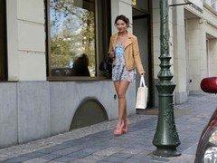 teen shopping public in high heels and dress (+upskirt)