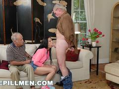 Dazzling babe is excited to suck that massive cock and get banged in different positions by this handsome old folk