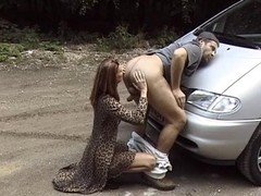 hitch hiker chick pays with rimmjob and moreover blowjobs