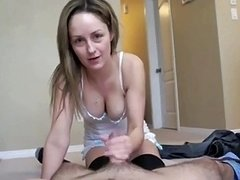 Great eager mom wife and her soft tender hands stroking my love tool