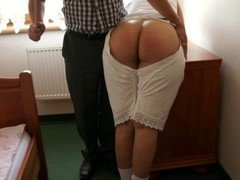 Amelia in the old-fashioned underwear got caning