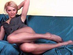 Slim babe with long pantyhose legs