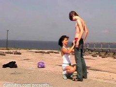 russian amateurs having an intercourse outdoors 2