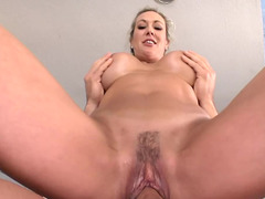 Curvy blonde whore rides a fine dick and gets a nice massage
