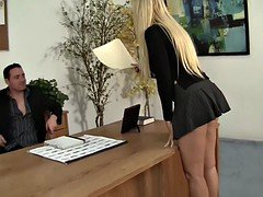 Lucky manager licking his soccer mom boss in the office
