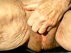Aged Granny jerk off her big pink pearl! Newbie!