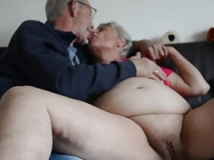 Porky grown-up granny kissing