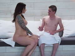 A tattooed chick that loves cock is getting fucked really hard