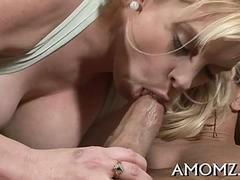 Big-breasted grown-up chick bounces on a thick rod like a skillful