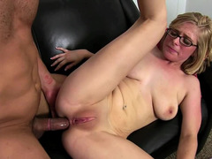 Nerdy blonde with glasses gets her butt pounded by her horny man