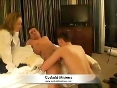 Mistress makes dude give bj