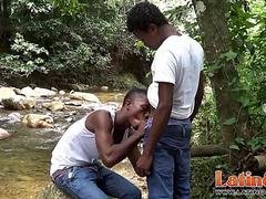Latinos in jeans and additionally T-shirts have oral outdoors