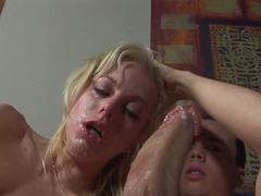 Gagging cock whore Angela Stone takes an aggressive face fucking