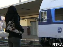 Sexy brunette from Europe fucked in a city train Point of view
