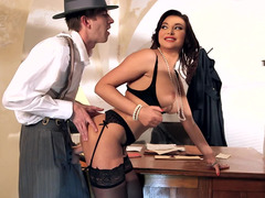 A curvy busty chick is getting penetrated in the jail cell