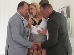 Blonde that loves sucking and riding dick is getting several of them