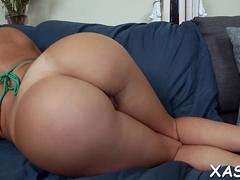 Brunette girl with a big tush gets her snatch rammed so hard