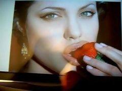 Cum on smoking hot Angelina Jolie