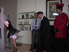 A sexy maid is getting fucked by several men in the mansion today